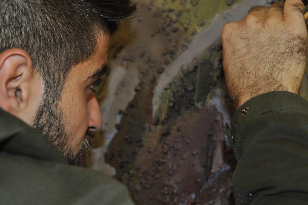 Ammar Hatem in seinem improvisierten Atelier.
